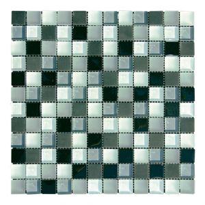 Glasmosaik-NBLM 2,5x2,5cm schwarz/weiss glzd./matt