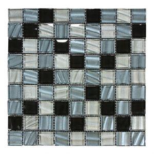 Glasmosaik-NGW 3x3 schwarz/grau glzd. 30x30x0,8