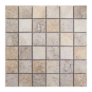 Mosaico TRAVERTINO 4,8x4,8 chiaro/noce 30x30x0,9