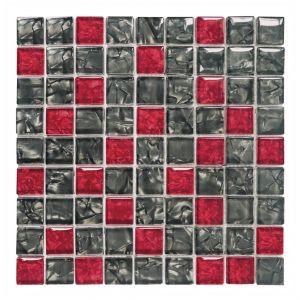 VETROLUSSO-NR 3x3 nero/rosso glzd. 30x30x0,8