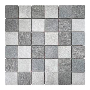 Mosaico ARDESIA-1 4,8x4,8 antracite/bianco/grigio