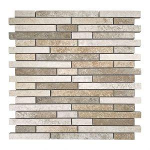 Mosaico BRICK TRAVERTINO bianco/chiaro/noce