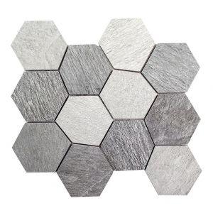 Mosaico ESAGONA-4 Ardesia antracite/bianco/grigio