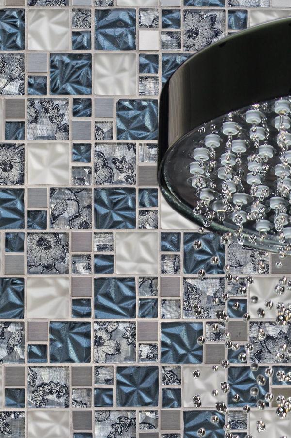 Glasmosaik Duschbrause Stella azul